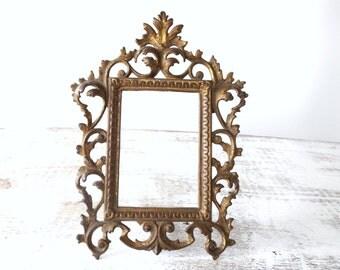 Vintage Metal Photo Frame/ Wilton/ Iron Art/ Heavy Metal Photo Frame/ Cast Iron Picture Frame/ Rococo / Baroque Scroll