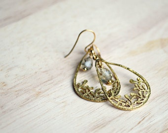 Romantic Gold Teardrop Earrings Gold Leaves With Grey Glass Accents Whimsical Jewelry - B111