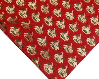 Red Gold and Green Banarasi Pure Silk Fabric - Silk Fabric - Pure Silk Indian Embroidery Fabric Remnant