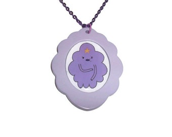 Lumpy Space Princess Cameo Necklace, LSP Kawaii Cute Adventure Time, Large Cameo, Pastel Lilac