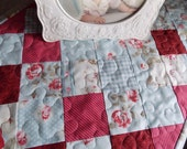 Shabby Chic Table Runner Quilt - Table Topper Quilt - Centerpiece Quilt - Blue - Rose