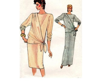 Retro New Wave 80s Vogue Sewing Pattern Drop Tie Waist Draped Bodice Pullover Dress Casual Evening Length Bust 32