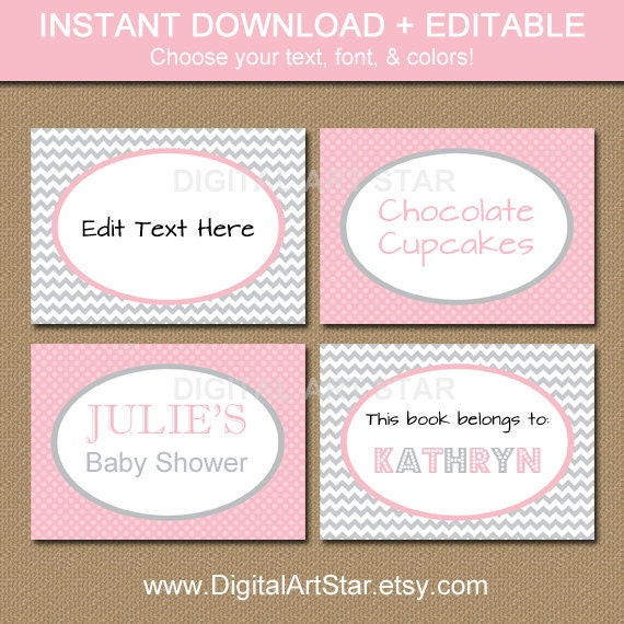 Editable Printable Chevron Buffet Cards, Labels, Tent Cards, Candy ...