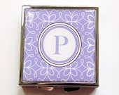 Monogram Pill case, Monogram Pill box, Pill box, Pill case, 4 Sections, Square Pill box, Square Pill case, You Pick Color (4085)