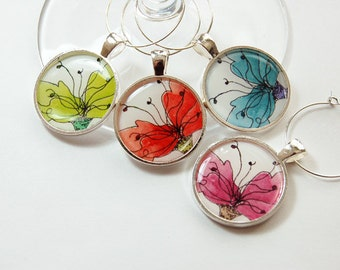 Floral Charms, Wine Charms, Wine Glass Charms, Flower Wine Charms, silver plate, barware, Flowers, entertaining, table setting (3199)