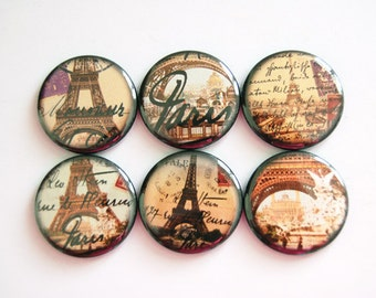 Paris Magnets, Travel magnets, Eiffel Tower magnets, button magnets, Kitchen Magnets, Paris, Eiffel Tower, stocking stuffer (3419)