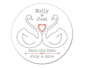 Wedding Save the Date, Save the Date Magnet, Swans, Save the Date, Getting Married, Engagement, Custom, Personalized, Wedding (4141)
