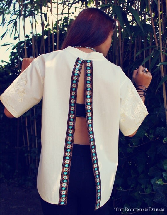 reserved bohemian blouse top open back split shirt embroidered