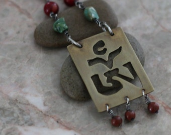 """SALE Silver and Brass """"OM"""" Necklace"""