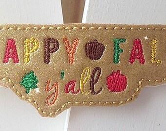 Happy Fall Y'all Headband Thanksgiving Shimmery Fall/ Autumn Headband. Celebrate the season in style!