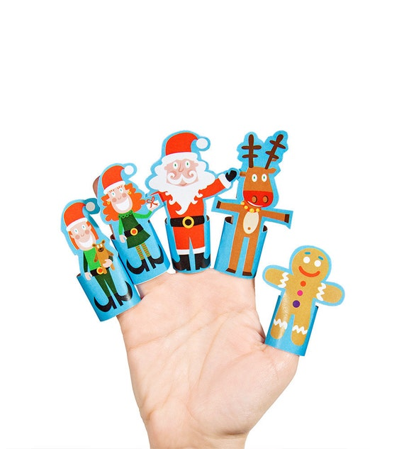 Christmas Paper Finger Puppets PRINTABLE PDF Toy DIY by pukaca