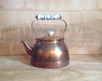 Vintage Copper Kettle - Rustic Patina Metallic Farmhouse Americana