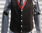 M Mens Steampunk Vest The Alchemist Red Black Silver