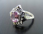 15% Off Sale.S167 Made to Order...New Sterling Silver Intricate Filigree Ring with 1 carat Lab Pink Sapphire Gemstone