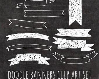 ribbon banner clip art, chalk ribbon clipart digital scrapbooking label, hand drawn white chalk scribble instant download digital png 077
