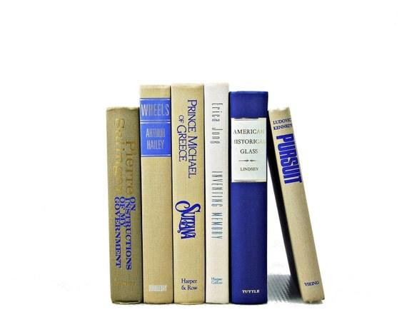 BEIGE & COBALT BLUE Wedding Decor, Decorative Books, Centerpiece, Table Settings, Set, Home Decor, Vintage Gift,  Photo prop