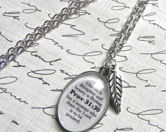 Proverbs 31:30 Bible Verse Necklace