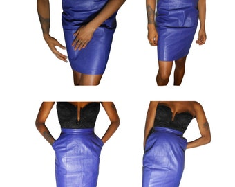 Leather Skirt/ High Waisted Skirt/ 90s Hip Hop/ Body Con/ Purple Leather/ Pencil Skirt/ Seapunk/ Purple Skirt/ Cross Colours/ Tight Skirt