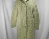 vintage 1970s green sweater coat / size large