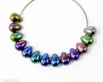 Glass Teardrop Beads 6mm (50) Czech Iris Blue Small Metallic Spacers