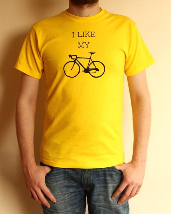 Bicycle T Shirt - I Like My Bike T Shirt - Mens Shirt - SALE size small!!!