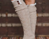 Boot Socks, Taupe, Knitted, Lace Trim, Fashion Socks, For Her,  Handmade, Stocking Stuffer, Fashion Accessories, Lace Trim Socks (BS-07F14)