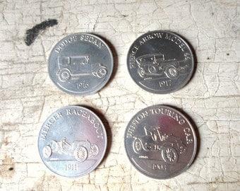 Vintage Sunoco Gas Coins, Antique Car, Coin Series, Americana, Advertising, Gasoline, 4 Pcs., Service Station, Garage, Retro, Mad Men