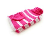 Pink and White Knit Hot-water Bottle Cover