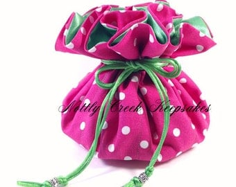 Jewelry Organizer / Jewelry Drawstring Pouch / Travel Bag / Store Jewelry / Cosmetics / Pink and White Polka Dots lined in Bright Green