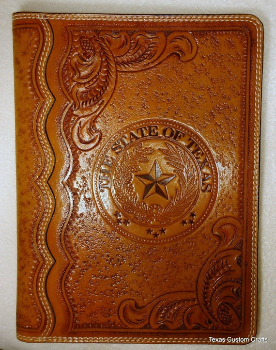 In Stock Leather Portfolio With Texas State Seal And Western