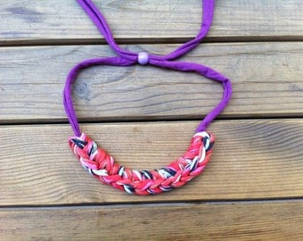 Fabric Rope Necklace - Purple Statement - Coral, Pink, Blue Fabric Knot