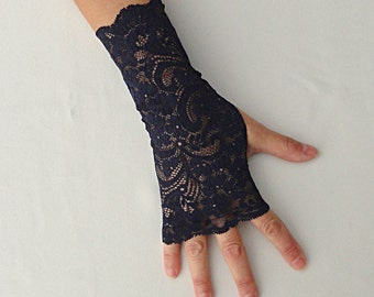Navy Lace Gloves - Blue Lace Gloves - Navy Blue Fingerless Gloves