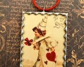 Vintage VALENTINE Victorian Clown Girl Keepsake Soldered Glass Ornament