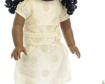 "American Doll Christmas Dress Clothes Girl 18"" Fancy Holiday and Gold Satin Hairbow - 18'' Doll Dress - Polka Dot Cream Velvet Satin"