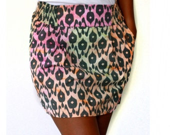 Neon Color mini skirt with side pockets, ikat pattern skirt
