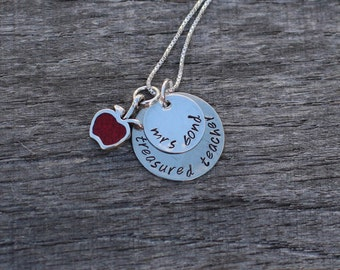 Hand Stamped Teacher Necklace