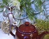 Italian Greyhound teapot, Needle Felted Greyhound, Galgo, Whippet, Iggies, Ig's