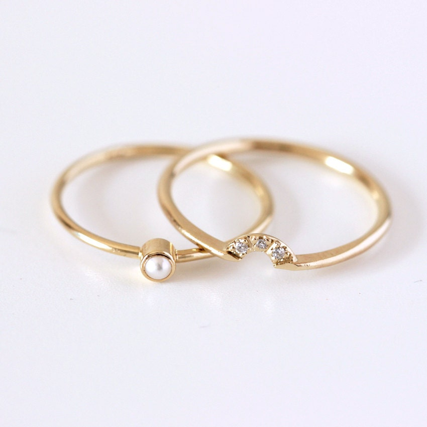 wedding ring set pearl seed dainty - Pearl Wedding Ring