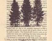 Book Page Art Print, Wall Art, Rustic Country Home Decor, Tree Photography, Farmhouse Chic Typography Print - Winter Solstice