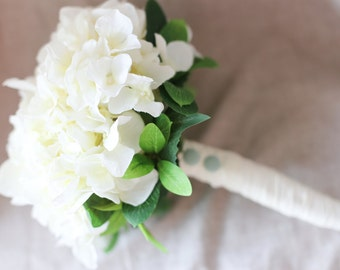 Pure white hydrangea silk flower bouquet