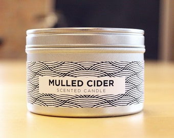 Mulled Apple Cider 8oz Soy Candle with Wood Wick
