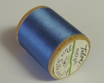 Vintage Talon  Pure Silk Hand Sewing Embroidery Thread 100 Yd. Wooden spool Shade 245 Windsor Blue