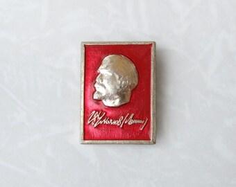 Vintage Soviet Pin Badge Lenin, Small Red Brooch, Lenin's Signature