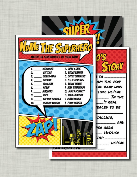 superhero baby shower games coed baby shower instant downloads