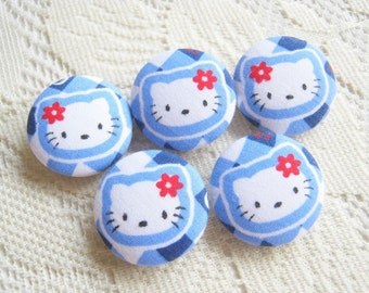 Fabric Covered Button Kitty in Blue Set 5pcs, 25mm, woman, spring, cute ,quilt,flower, handmade, magnet, baby shower, pencil case decoration