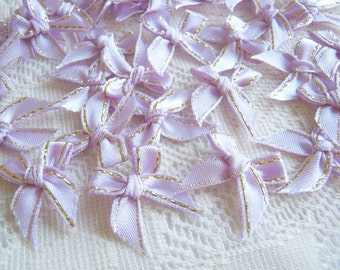 Lavender Ribbon, Violet and Gold bow 50 pcs., bow applique, fabric rose, ribbon, fabric bow, wedding, party, baby shower, party
