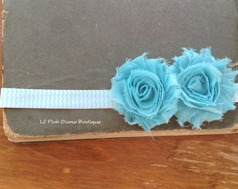 AQUA CHEVRON Headband, Infant Headbands, Newborn Headbands, Aqua Headband, Newborn Headband, Headbands for Babies, Shabby Chic Headband