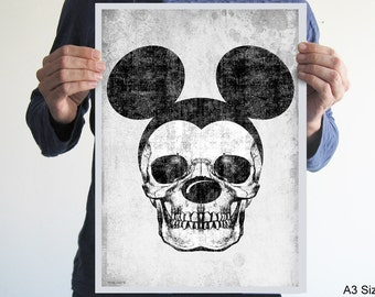 Original digital print mickey skull gray black white creepy horror blood goth art poster