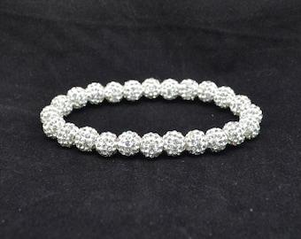 White Pave Crystal Ball Bead Stretch Bracelet - 8mm - 0824B