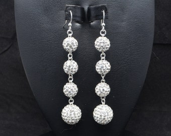 10mm and 14mm White Clear Pave Crystal Disco Ball Dangle Earrings